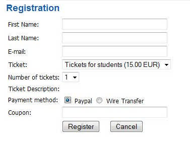 RSEvents! event custom registration form for Joomla!