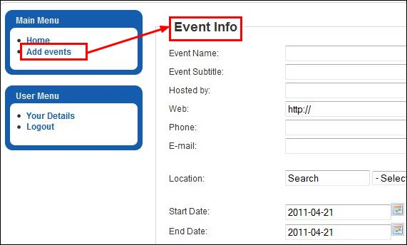 add events in the Joomla front-end panel