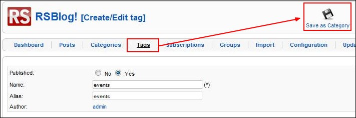 Transform tags into categories