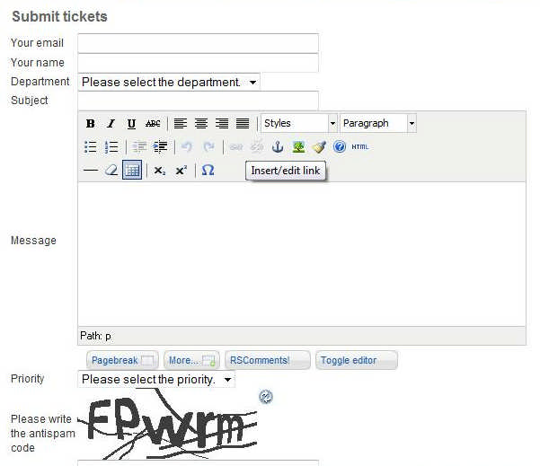 RSTickets!Pro submit tickets- Joomla! frontend view
