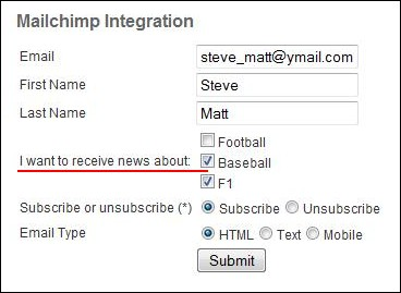 Joomla! subscription form for Mailchimp