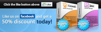 50% discount for RSFirewall! and RSSeo!