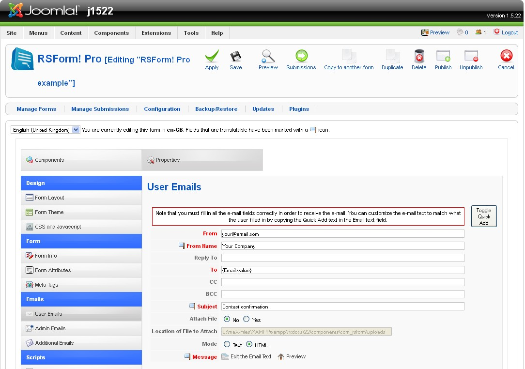 RS Form! Pro Question - Joomla! Forum - community, help and support