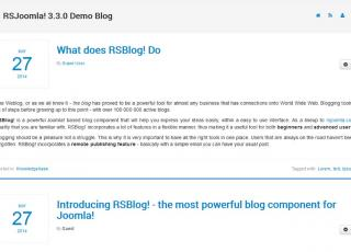 Blog view of the Joomla blog extension from RSJoomla
