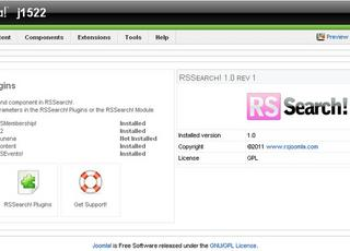 Main dashboard of RSSearch, the Joomla! search plugin from RSJoomla!