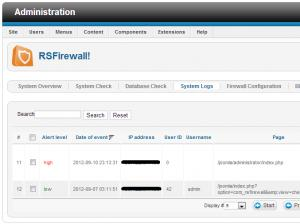 RSFirewall! System Log