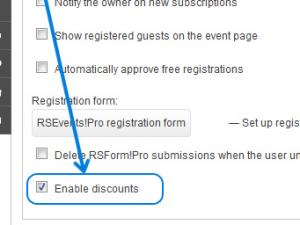 Step 5 - RSEvents!Pro enable discounts