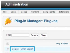 "Enabling the ""Content - Smart Search"" plugin"